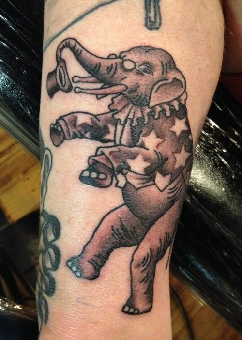Circus Elephant Tattoo by Ron Girly Circus Elephant Tattoo