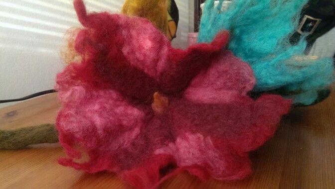 Pink felted flower