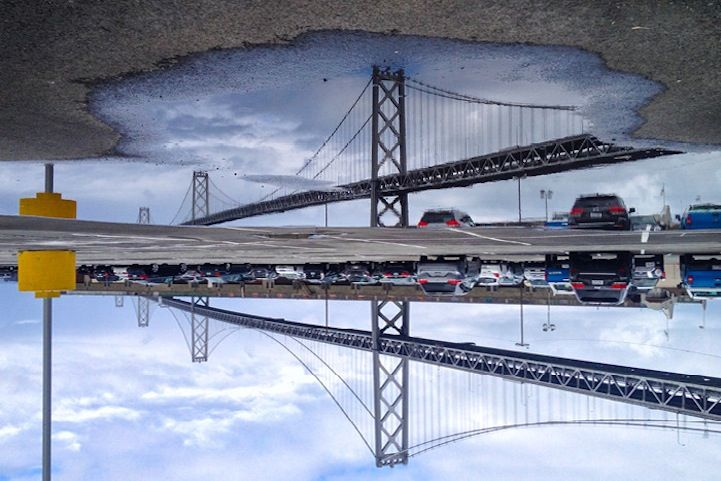 San Francisco Cityscapes Reflected in Fragmented Puddles - My Modern Met