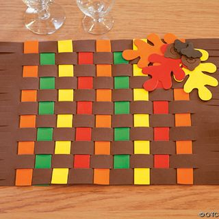 Thanksgiving Mat--We've done this at school before.  To make things cheaper, it can be done with construction paper.  It works just the same.