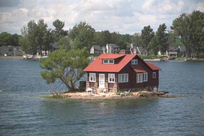 This island, called 'Just Enough Room' Is the closest island to Boldt Castle. It's believed that Mr. Boldt built it for his mother in law who he knew to be a 'Sleepwalker' in hopes she'd 'sleepwalk' her way out into the water.