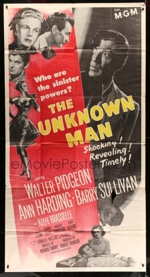 eMoviePoster.com Image For: 2c962 UNKNOWN MAN 3sh 1951 Walter Pigeon, Ann Harding, who are the sinister powers?