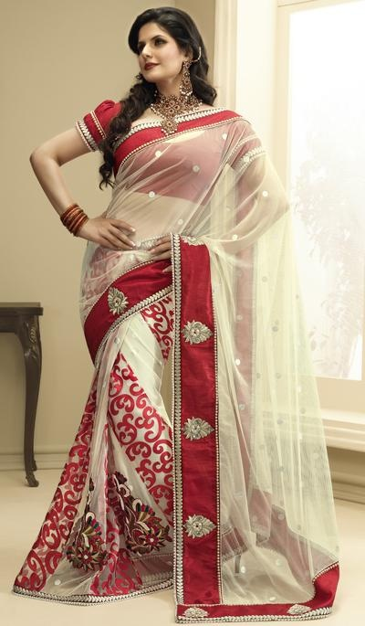 Price : 4976 INR;   Product Code	:	G3-LS2248;   Product Name	:	Cream Red Net Embroidered Lehnga Saree