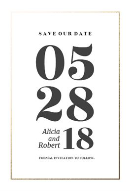 Elegant big numbers printable invitation template. Customize, add text and photos. Print, download, send online or order printed! #invitations #printable #diy #template #savethedate #wedding #weddingsavethedate