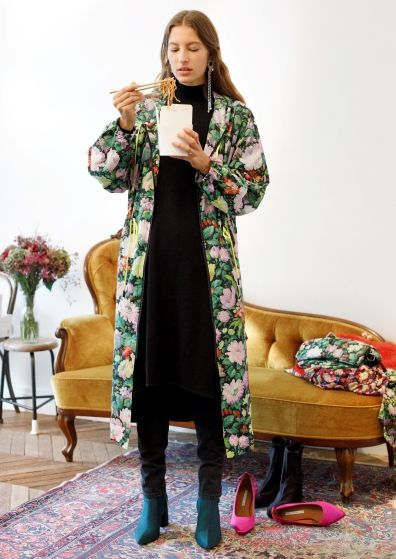& Other Stories | Inspiration | Wild Flowers Print Long Coat With Hood | Frill Shoulder Dress