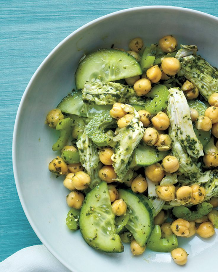 Shredded cooked chicken breasts and chickpeas make this pesto salad hearty enough for a main course.