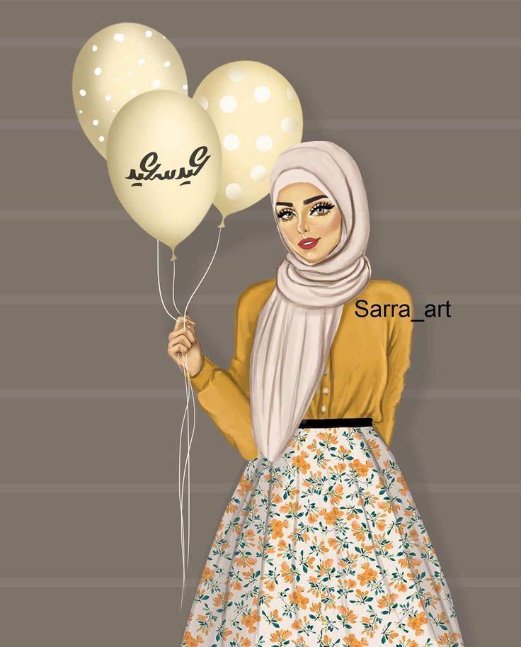 "2,216 Likes, 142 Comments - Sara Ahmed (@sarra_art) on Instagram: ""تاني رسمه للعيد ستايل لبس مختلف """