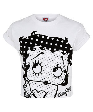 White (White) White Polka Dot Betty Boop Crop T-Shirt | 284718910 | New Look