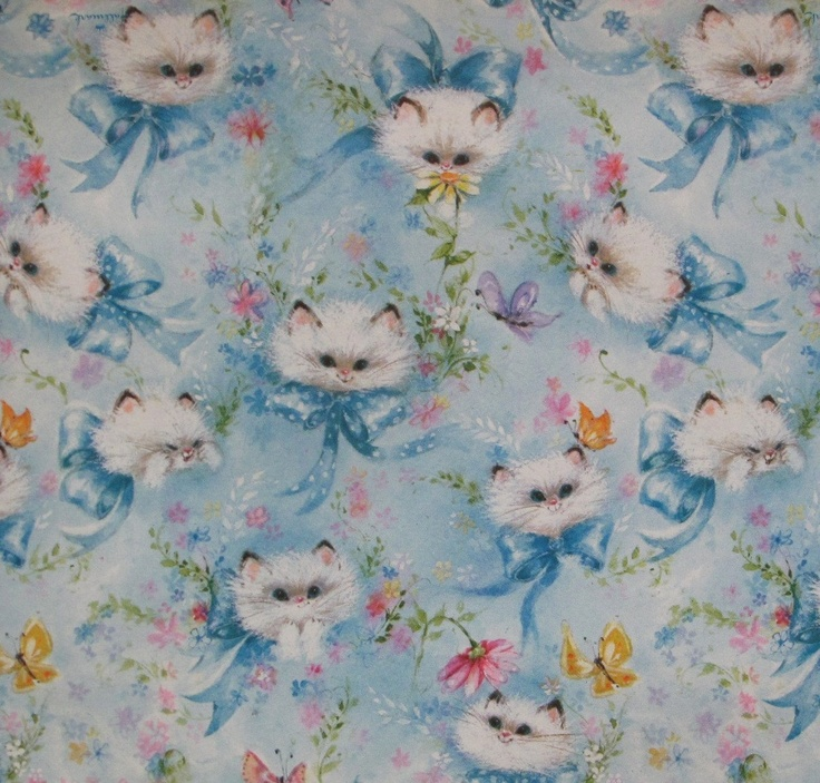 Vintage Hallmark Wrapping Paper - KITTENS and BUTTERFLIES - 1960s.
