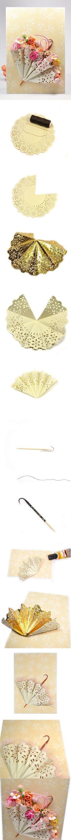 Inspiration pour une ombrelle florale à réaliser en fleurs en tissu et papier. Bouquet de mariée original, création intemporelle:
