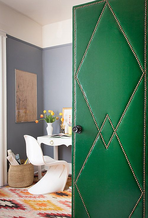 A DIY upholstery project dresses up plain, hollow-core doors: