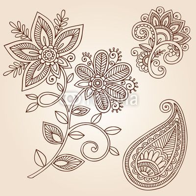 Henna Mehndi Flower Doodles Abstract Floral Paisley Vector de blue67, Fichier vectoriel libre de droits #38371272 sur Fotolia.com