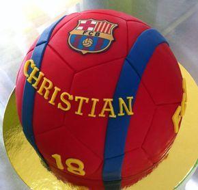 Pastel balón del F.C. Barcelona de fondant
