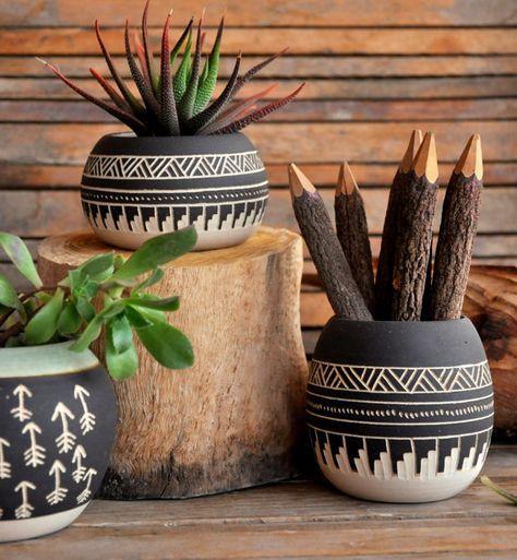 Ceramic planter pottery Navajo inspiration Carved sgraffito Vase home deco GEO Aztec Geometric cactus succulent planter black white
