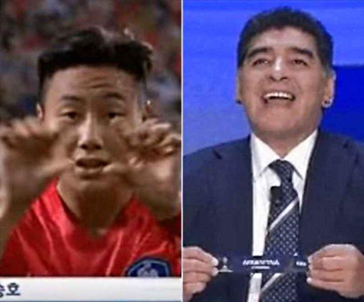 Povero Maradona: sbeffeggia i coreani al sorteggio e loro esultano prendendolo in giro Aveva riso quando ha pescato la Corea del Sud nello stesso girone della sua Argentina, ma il campo ha detto un'altra cosa. I coreani hanno vinto 2-0, buttato fuori i rivali e, Seung-Ho Paik, nell'esu #maradona #coreadelsud #esultanza