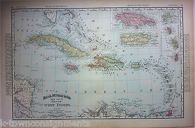 Cuba Puerto Rico Haiti Antique Graphic Atlas Map Engraving Poster Print 1890s