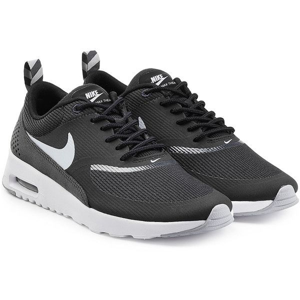Nike Air Max Thea Premium Leather Sneakers (141 AUD) ❤ liked on Polyvore featuring shoes, sneakers, black, urban sneakers, leather trainers, black leather shoes, black shoes and black trainers