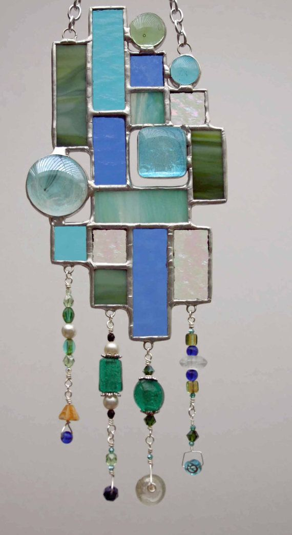 Green and Blue Sun catcher with Beaded Dangles by wbgcreations, $30.00