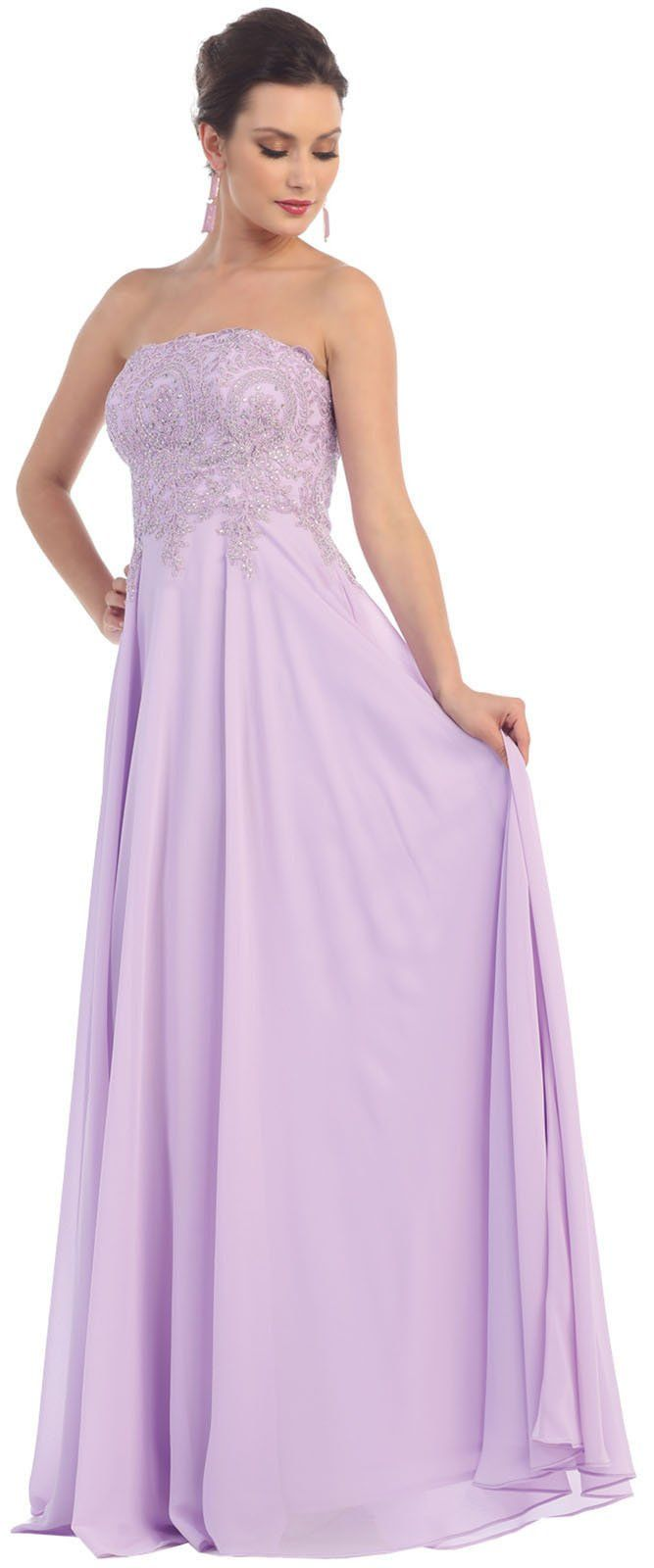 May queen mq strapless bridesmaids long gown blush click