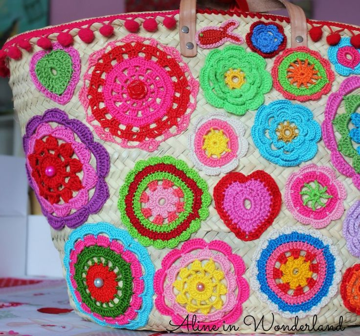 sew crocheted circles onto a straw bag!