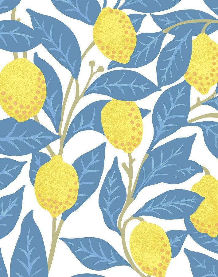 Lemons Blue In 2020 Wallpaper Eco Friendly Paper Prints