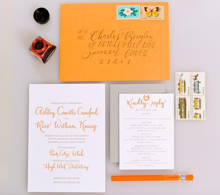 Bright and Modern Calligraphy Invitation by Parrott Design Studio #ParrottDesignStudio #Calligraphy #Invitation