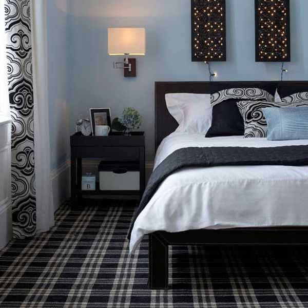 decorating bedroom with black, white and blue   Bl…