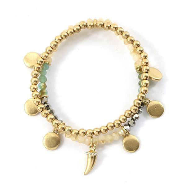 Metal Horn and Dangle Charm Bracelet