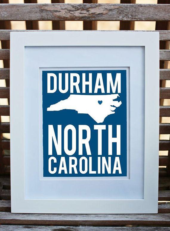 State Art Print  Durham North Carolina Art Print in Duke by cr2f, $18.00