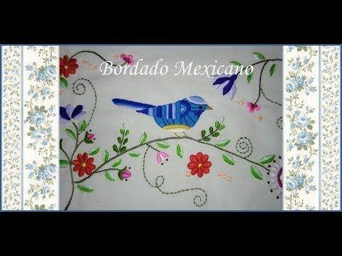 ♥ Bordado Mexicano ♥ Pajarito azul ♥ Parte 2 ♥