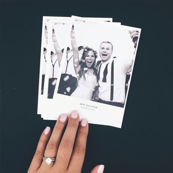 This Polaroid wedding thank you card is very versatile. You can glam it up by keeping it monochrome and using simple fonts or you can go for wild fun by amping up the colors and introducing some interesting typography. Write a cute note on the back and your guests will love the one page card that they can easily hang on the fridge or store as a memory.