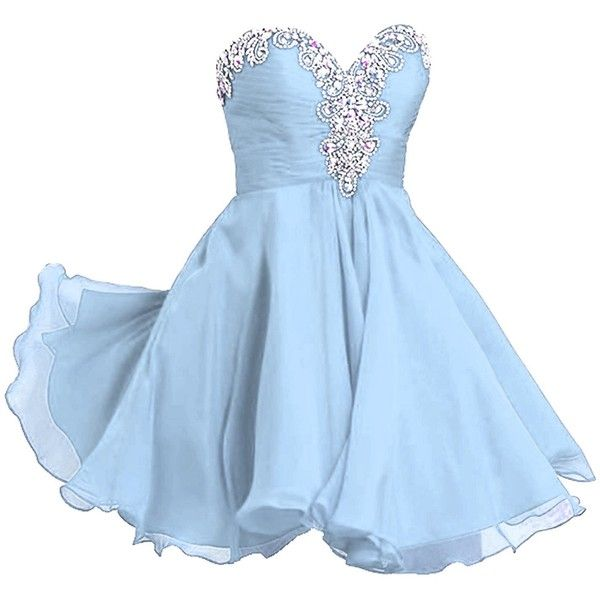 VILAVI Women's A-line Sweetheart Short Chiffon Rhinestone Homecoming... ($59) ❤ liked on Polyvore featuring dresses, a line cocktail dress, short chiffon dress, blue cocktail dress, homecoming dresses and chiffon dress