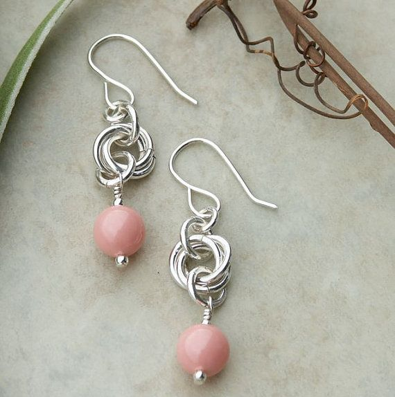 Handmade Coral colored Swarovski Pearl Sterling Silver Dangle Earrings - make these with the fancy jump rings
