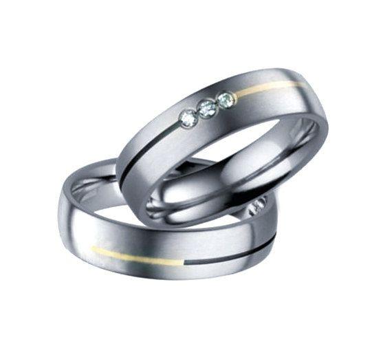 Diamond Wedding Band Set, Men Titanium Rings, Mens Wedding Band, Gold Silver Inlay , Titanium Engagement Ring, Wedding Bands, Titanium Sets