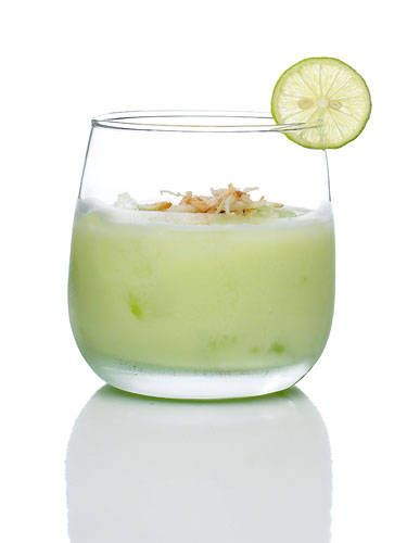 <i>1 oz. Midori Melon Liqueur1 oz. Cabo Wabo Tequila Blanco1 oz. coconut cream1 oz. lime juiceGarnish: lime wheel</i>Combine all ingredients in a glass filled with ice. Stir and garnish with a lime wheel.<i>Source: Midori</i> -Cosmopolitan.com