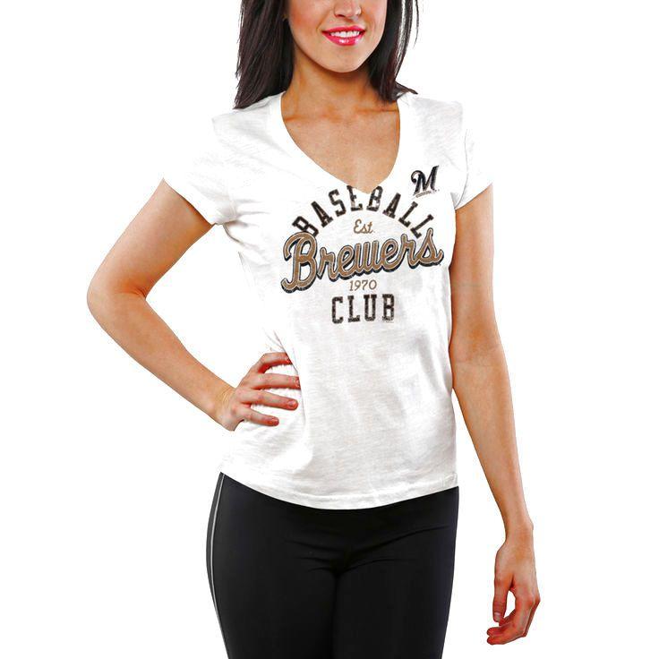 Milwaukee Brewers Women's Designated Hitter V-Neck Slim Fit T-Shirt - White - $11.39