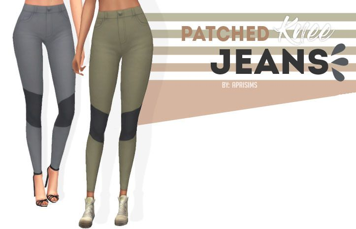 "aprisims: "" Patched Knee Jeans 
