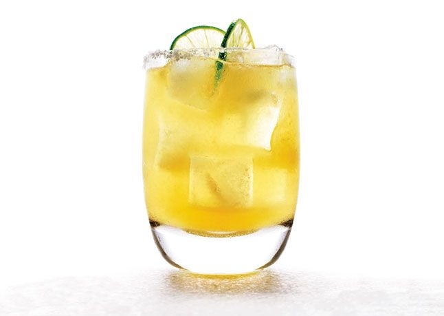 Agave, lime & tequila (100% agave of course) - no triple sec - great margarita!