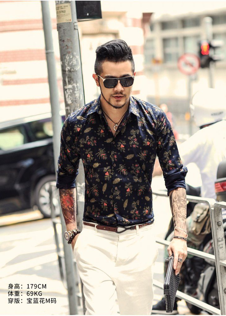 f4a7bce7dccf Spring men s slim floral shirt printed shirt long sleeved casual shirt –  Trending Accessories