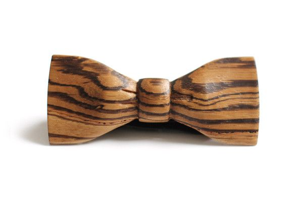 Check out our handmade zebrawood bow tie. Our wooden bow ties are hand carved out of a single piece of wood and come in mahogany wood and zebrawood.
