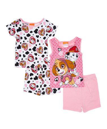 Love this Pink & Black PAW Patrol Four-Piece Pajama Set - Toddler on #zulily! #zulilyfinds