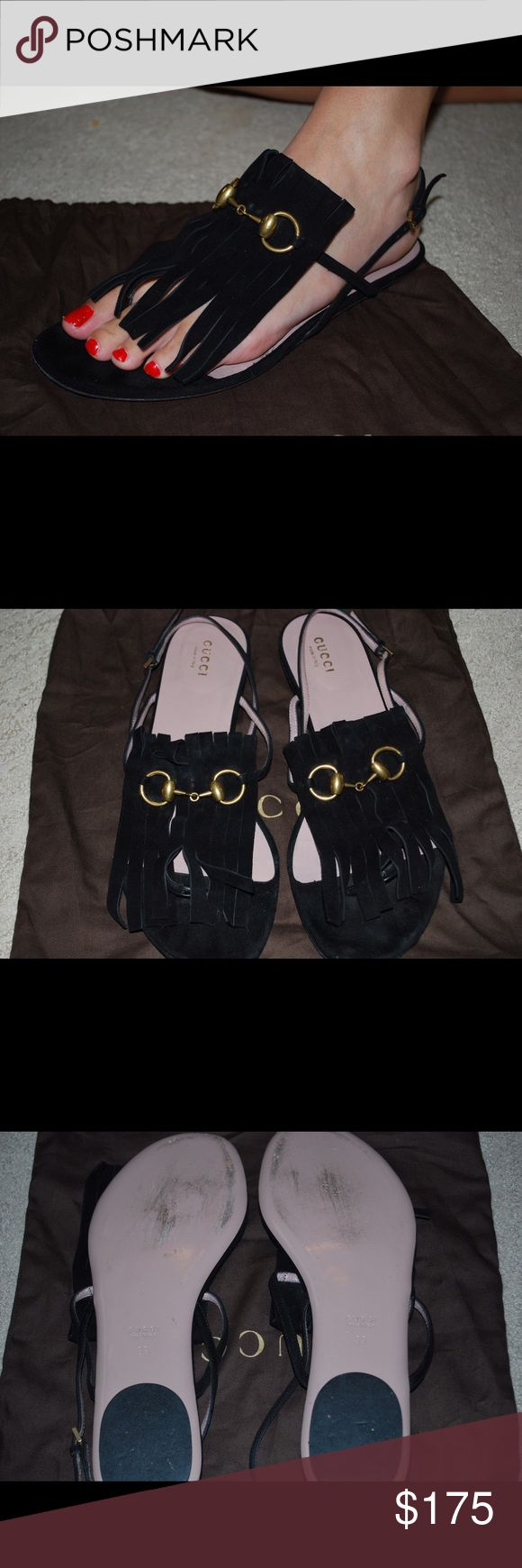 Gucci sandals!! 100% authentic Gucci sandals. Super cute and comfortable. Fairly worn on the bottom but look brand new on the top of the shoe!! Comes with dust bag. Price is always negotiable. Gucci Shoes Sandals