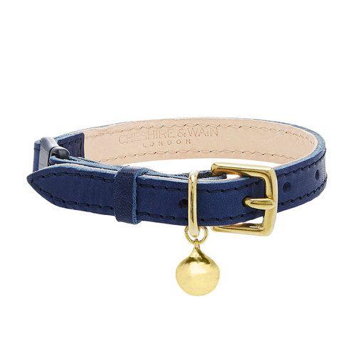 Navy Blue Leather Cat Collar