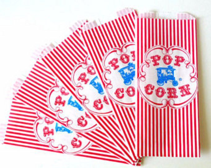 Super cute retro paper popcorn bags with blue wagon & red stripes-- great for circus birthday or carnival birthday party - with red and white stripe in size 3 1/2 X 2 1/4 X 7 3/4. They are gusseted and this one comes in a set of 75. They dont stand up by themselves--it doesnt have a flat bottom, but they are more like sandwich or cookie bags. Great for circus / carnival themed birthday or fun wedding party! We do not take returns or exchanges on items for safety an...