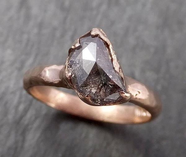 Faceted Fancy cut Salt and pepper Half Moon Diamond Engagement 14k Rose Gold Solitaire Wedding Ring byAngeline 1626