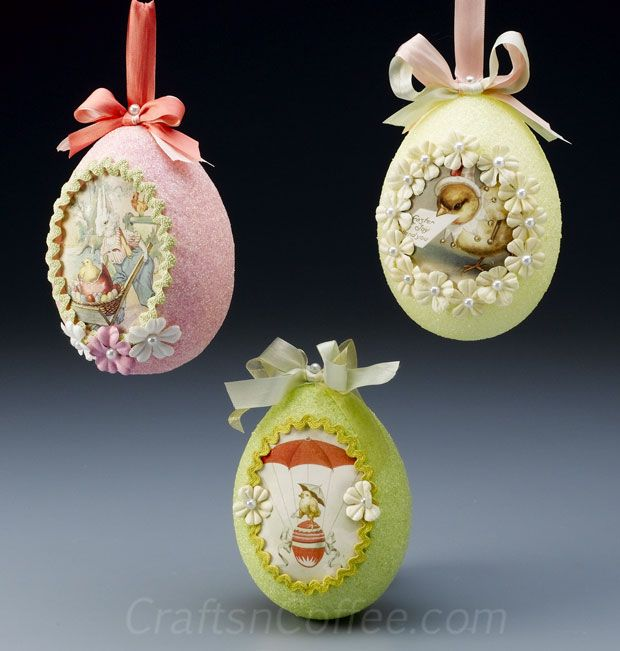 Easter Eggstravaganza: Vintage, glittered eggs have peek-a-boo paper scenes .... http://craftsncoffee.com