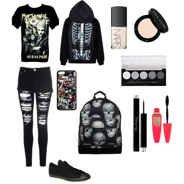 Emo at school by xxscenegirlxx7 on Polyvore featuring polyvore, fashion, style, Glamorous, Converse, Mi-Pac, Bobbi Brown Cosmetics, Christian Dior, Maybelline and L.A. Colors