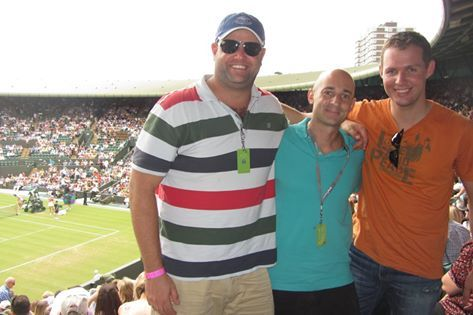 Jonathan Dicks, Marc Kornberger & Ronen Aires at Wimbledon (court 1) as part of their company incentive trip, thanks to Student Flights. Photo by: Jonathan Dicks