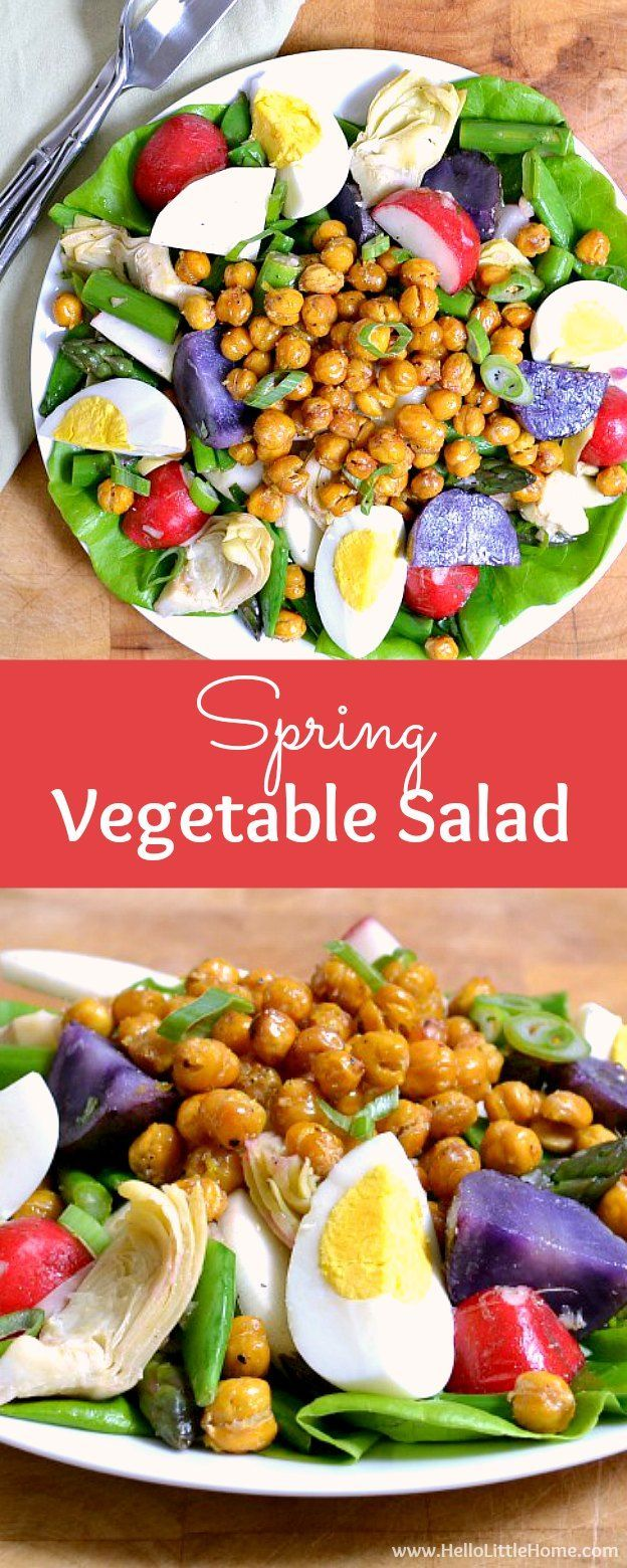 Spring Vegetable Salad with Lemon Basil Vinaigrette and Roasted Chickpeas ... a delicious seasonal recipe! Make this easy vegan salad anytime you're craving a light, healthy meal! It's packed full of veggies and makes a wonderful vegetarian lunch or dinner!   Hello Little Home