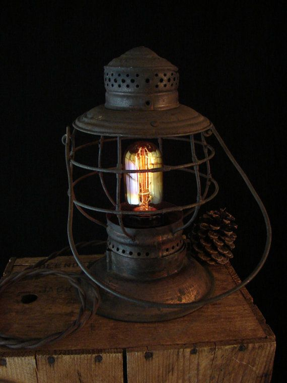 Upcycled Vintage Railroad Lantern Lamp with by BenclifDesigns, $74.00